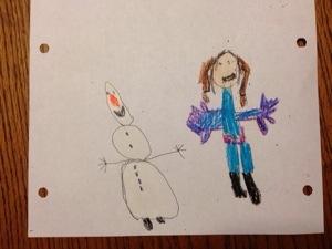 Molly, age 4 drew Anna and Olaf